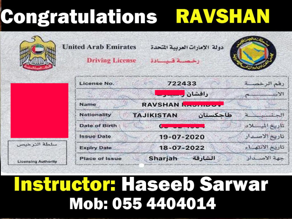 RAVSHAN DRIVING LICENSE